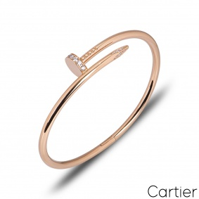 Cartier Rose Gold Diamond Juste Un Clou Bracelet Size 19 B6048519
